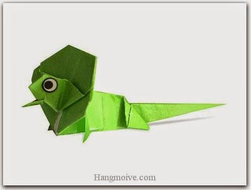 Cách gấp, xếp con thằn lằn cổ diềm bằng giấy origami - Video hướng dẫn xếp hình Động vật - How to fold a Frilled Lizard
