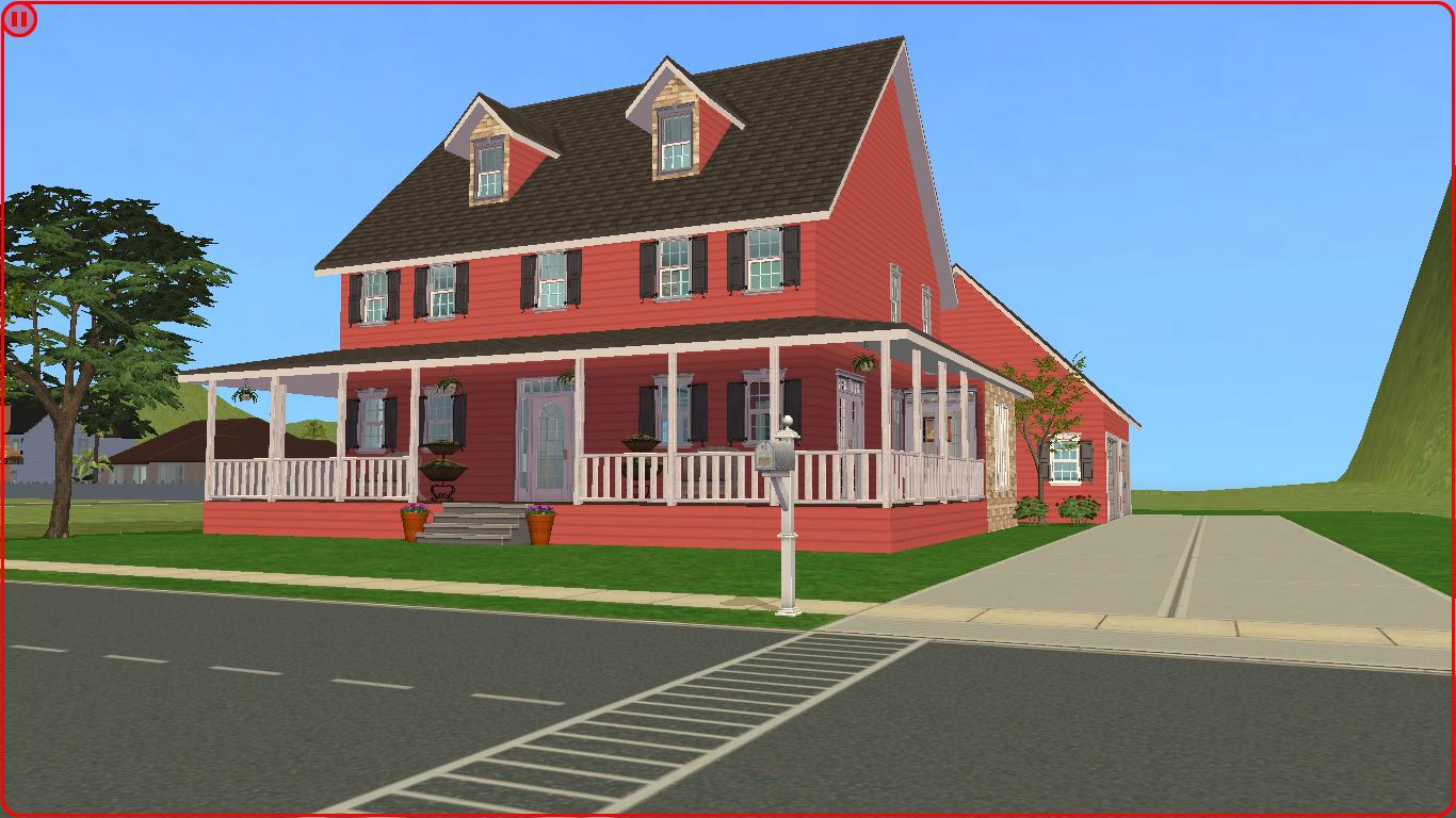 Sims 2 lot downloads big red country house for Big houses in the country