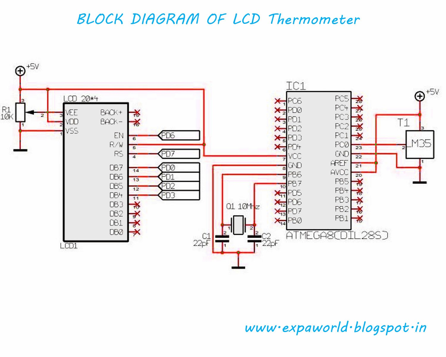 World Of Embedded Simple Digital Thermometer With Avr Schematic Lcd Based Using