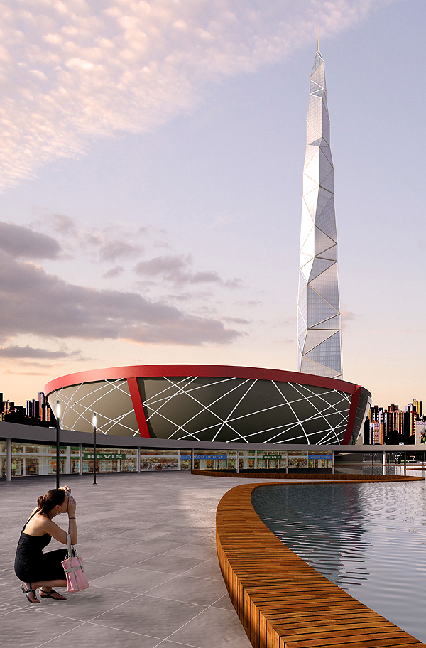 Rendering of new Tallest Building In Latin America as seen from the ground