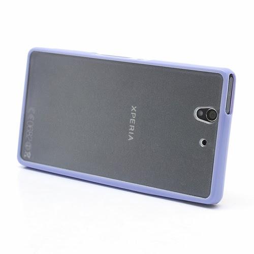 Hybrid Case : TPU Edges and Transparant Back Case Sony Xperia Z L36h L36i C6603 Yuga - Purple