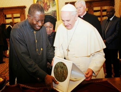 Pope Francis and Nigeria's President, Goodluck Jonathan