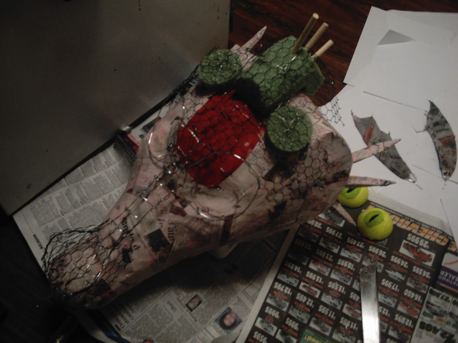 The art of making anything how to make a shrek dragon head for Paper mache structure