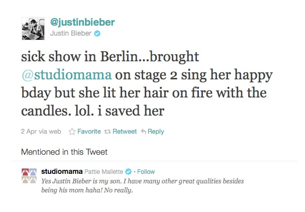 Justin Bieber Sets Mom On Fire