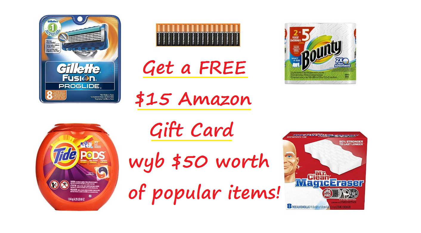 Get a FREE $15 Amazon Gift Card wyb $50 of Select Items!