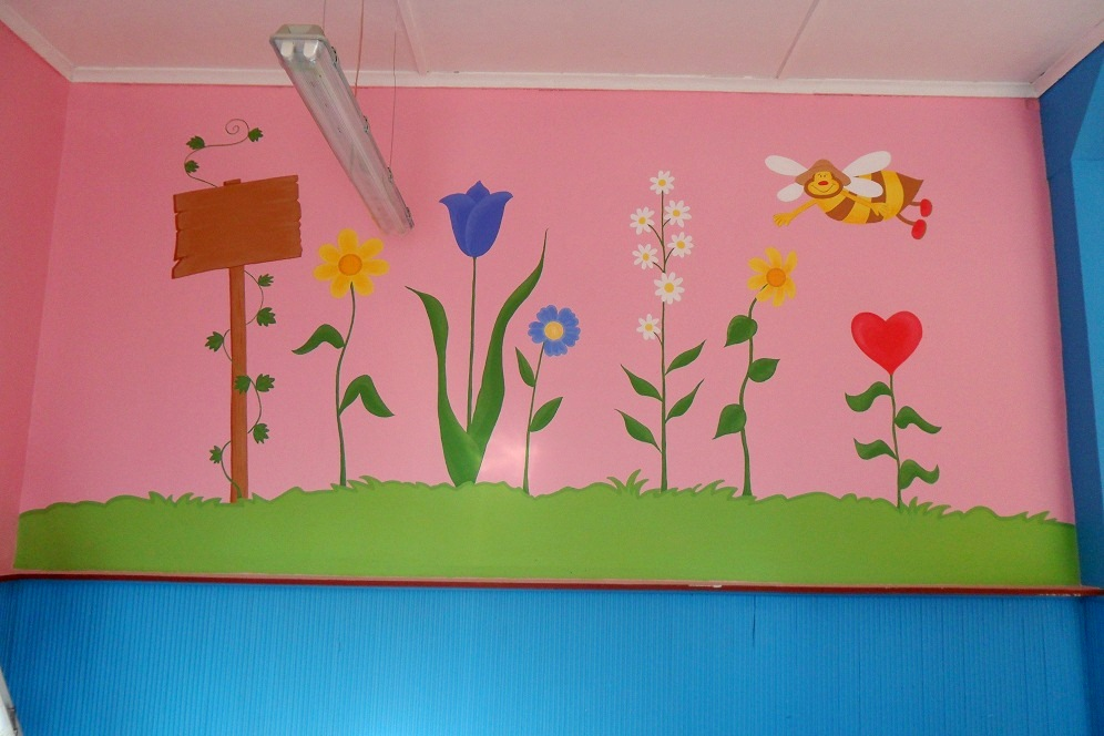 Murales infantiles mural infantil de flores en kinder for Mural de flores y mariposas