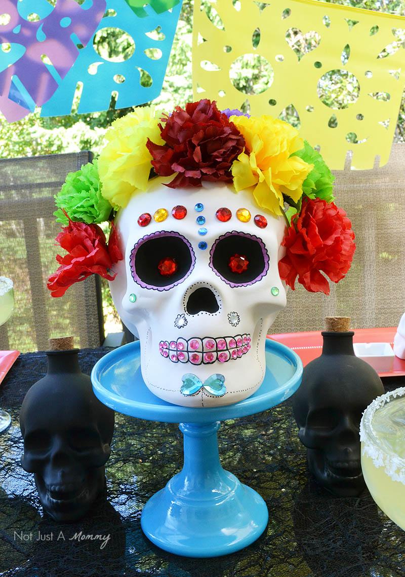 Turn a ceramic skull into a colorful calavera for Día De Los Muertos