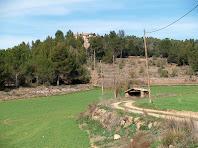 Un estable enmig dels camps amb el Pinell del Bosc al fons