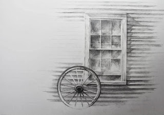wagon wheel and window, graphite drawing by Carroll JonesIII