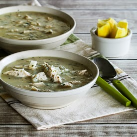 Greek Egg-Lemon Chicken Soup (Avgolemono Soup) with Rice or Cauliflower Rice found on KalynsKitchen.com