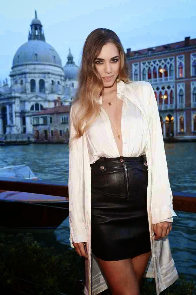 British Model Amber Le Bon Wearing A Tight Black Leather Skirt: