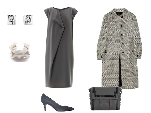 grey column dress with a gorgeous coat and silver dressy accessories