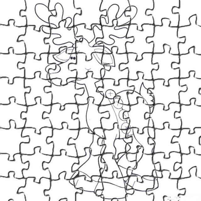 Desenhos Para Colori Quebra cabeça do papai noel para recortar desenhar