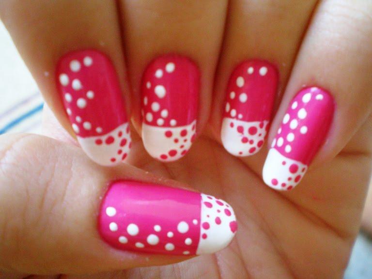 Zoe nails-Nail Art in Delhi Insight: Easy pink and white nail art ...