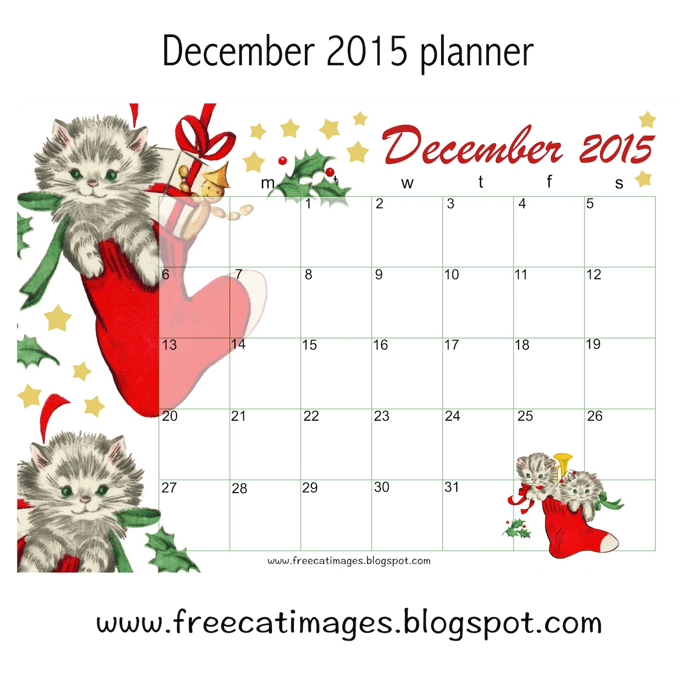 free cat images  free printable 2015 december calendar