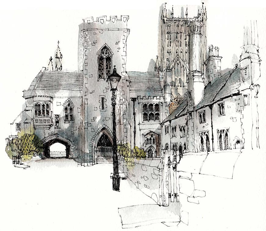 12-UK-Vicar-s-Close-Chris-Lee-Charming-Architectural-wobbly-Drawings-and-Paintings-www-designstack-co