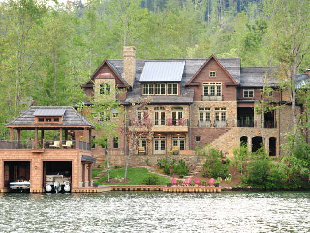 Mansions more lakefront georgia mansion for Luxury lake house