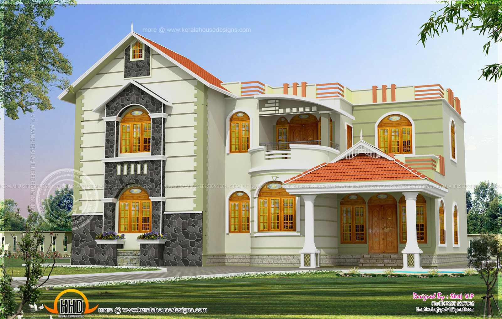 one house exterior design in two color combinations indian house