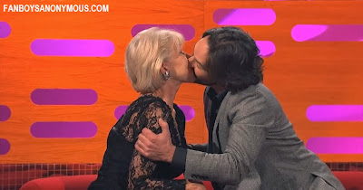 Ant Man actor Paul Rudd and Red actress Helen Mirren kiss on the Graham Norton Show