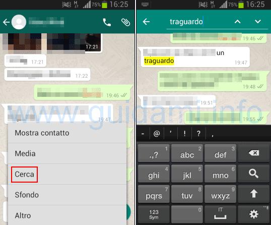 WhatsApp ricerca veloce parola in una conversazione