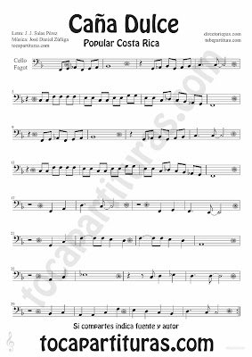 Tubescore Sweet Cane by JJ Salas Perez and Jose Daniel Zuñiga for Cello and Bassoon Sheet Music Puerto Rico popular song Music Score