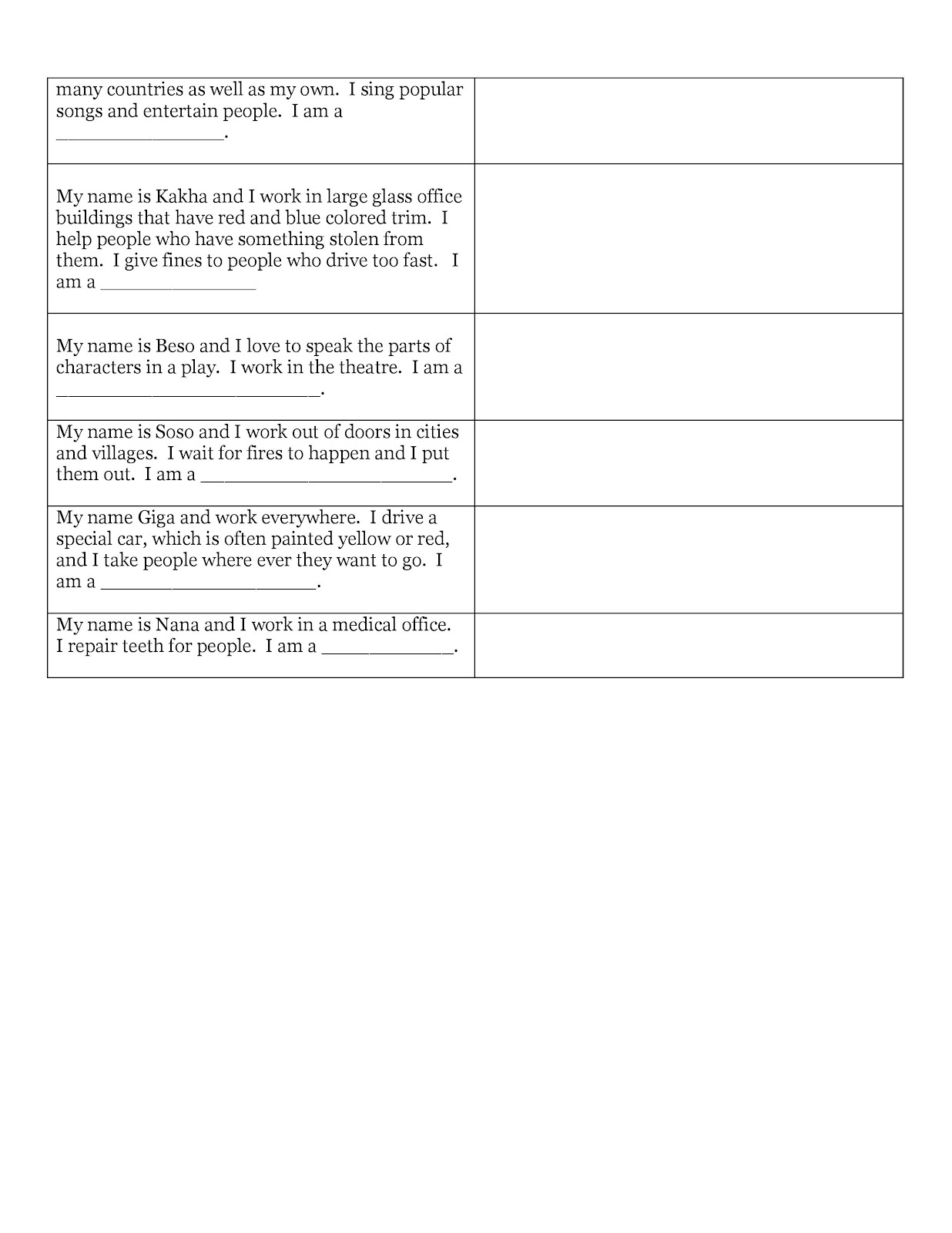 Content based instruction vocational and life choices create occupation worksheets for older learners robcynllc Choice Image