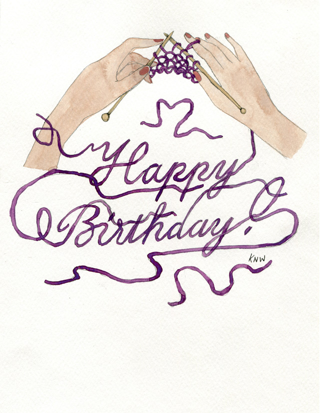 Kitty N. Wong / Purple Yarn Happy Birthday drawing and hand lettering