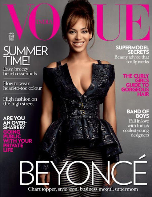Model Beyonce on the cover of Vogue India May 2013