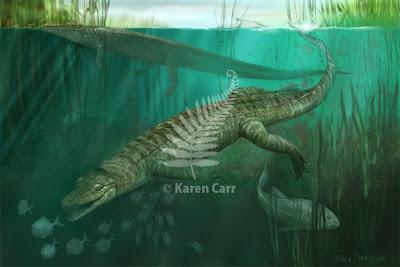 reptilia en el cretacico Pachycheilosuchus