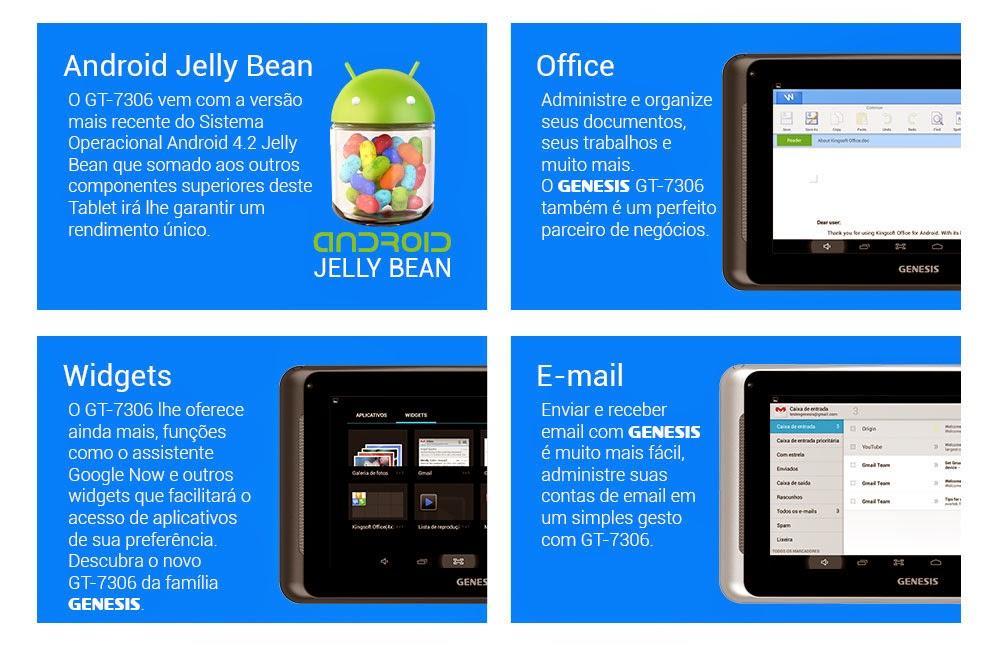 Tablet Genesis GT-7306 Android, Câmera, TV Digital, Dualcore