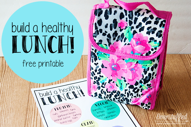 A free printable to help your kids know how to pack a healthy lunch for school. Hang the printable in the pantry and let them fill their lunchboxes by themselves. #overstuffedlife
