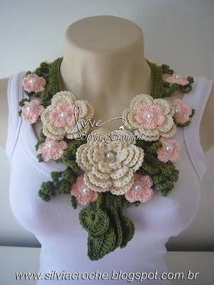 flore, croche, moda feminina, colar delicado, colar de flores, colar de croche, colar miss flor
