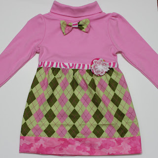 Argyle print pink bow tie dress