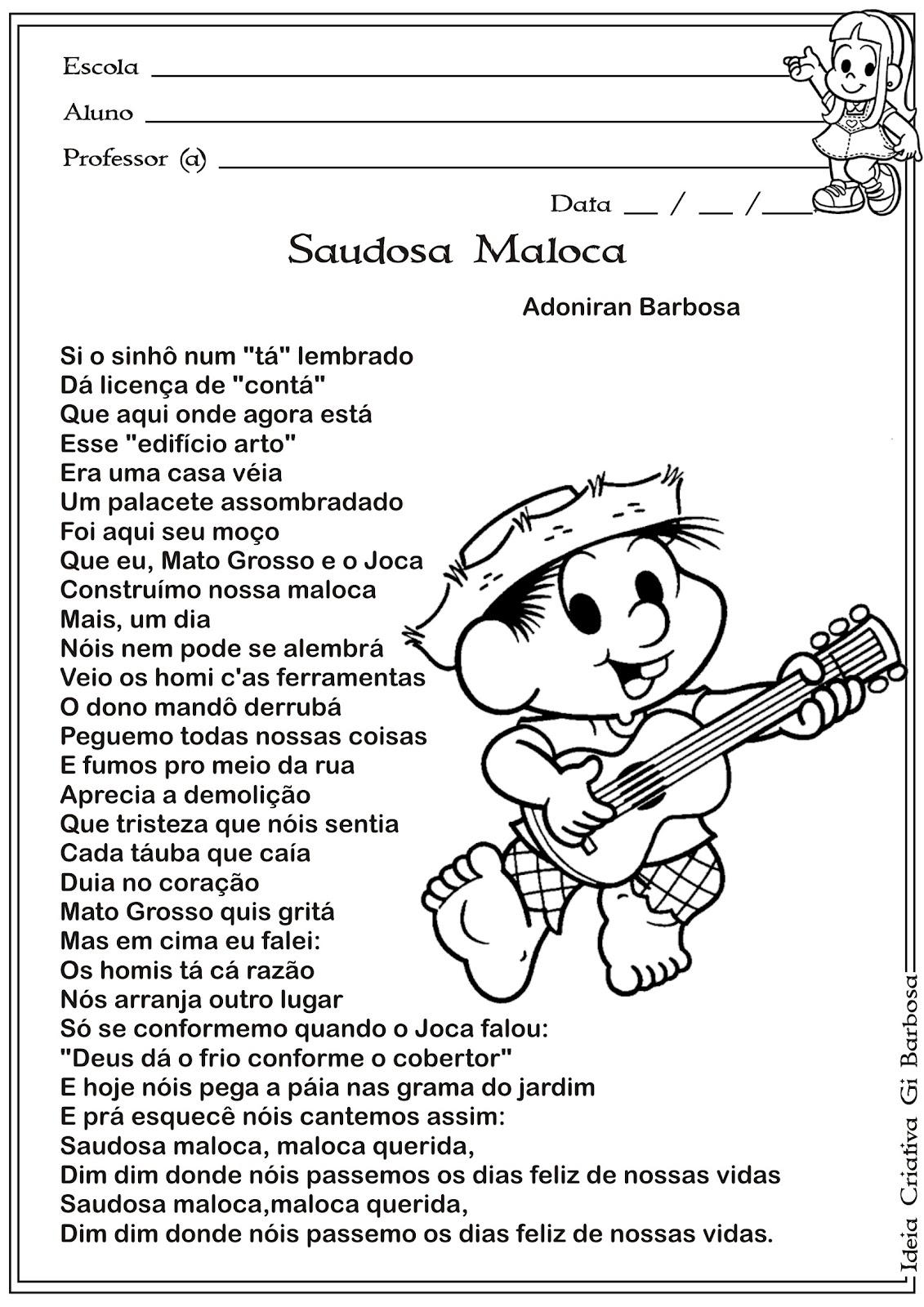 Atividade Texto e Interpretação 5º Ano Música Adoniran Barbosa