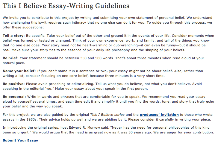 examples of this i believe essays co examples