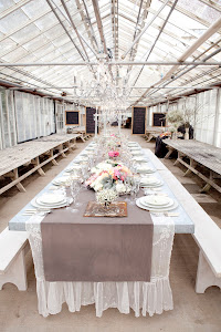 Our galvanized tables and white benches
