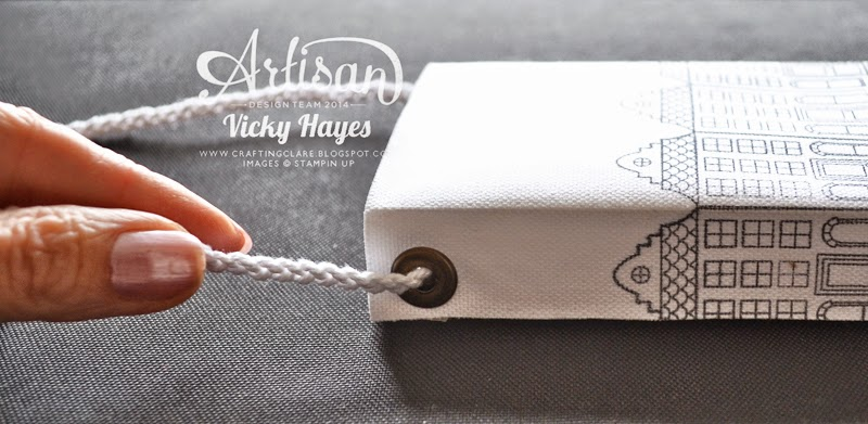 Make a handle for the canvas gift bag by plaiting twine from a Tag a Bag accessary kit from Stampin' Up - buy online now
