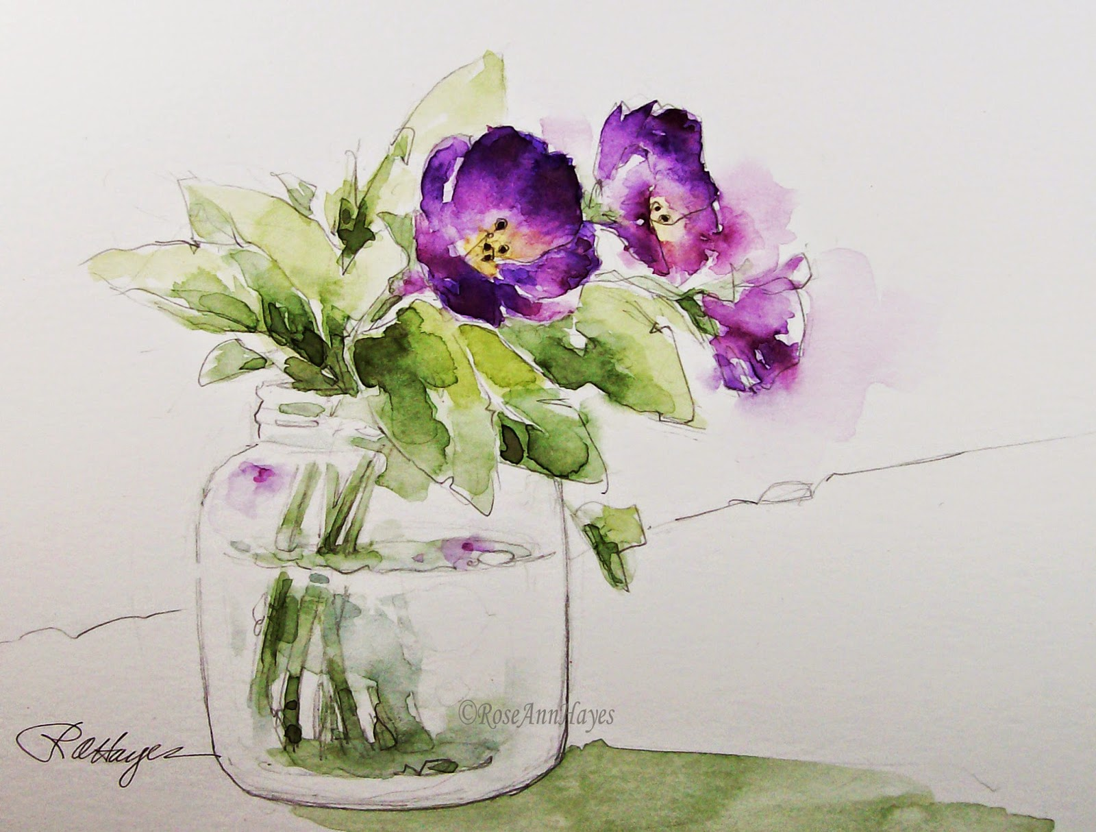 Watercolor Paintings by RoseAnn Hayes: Purple Flowers in Baby Food ...