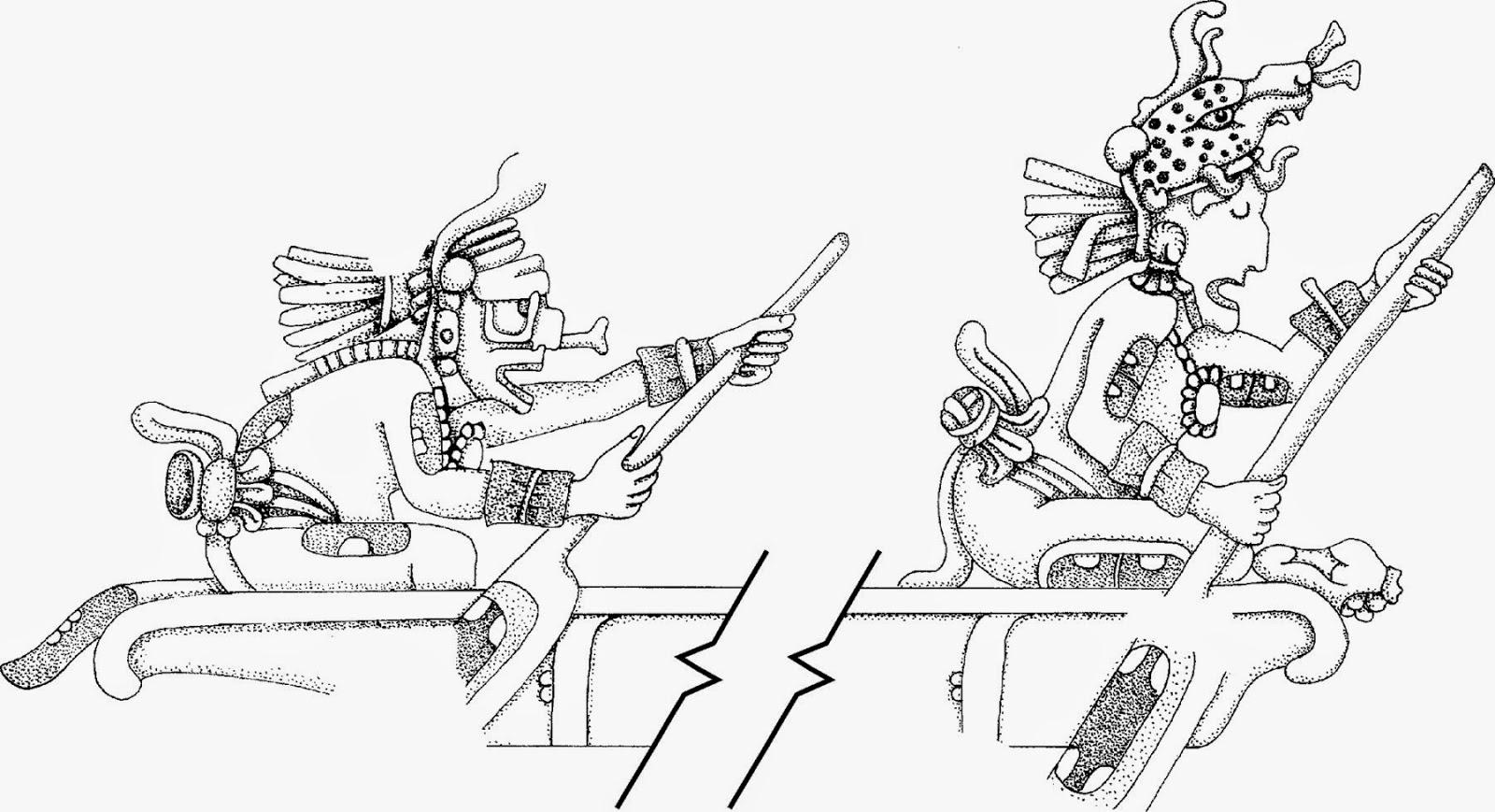 Mayan gods paddle a canoe