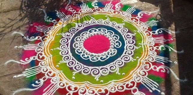 New latest sankranti muggulu designs with chukkalu for for Home made rangoli designs