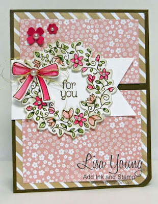 Stampin' Up! Circle of Spring stamp set. Wreath in pink and green. Handmade card by Lisa Young, Add Ink and Stamp