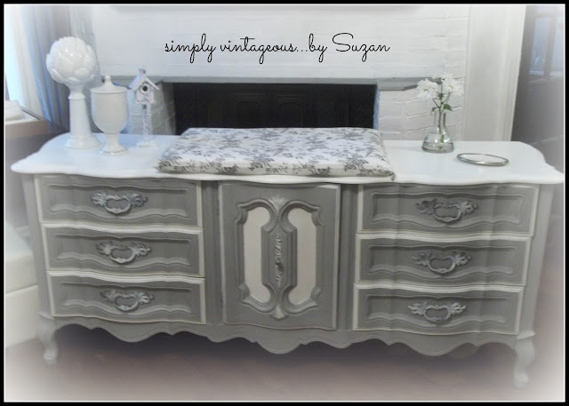 dresser, french provincial, before, after, chalk paint, annie sloan, paris grey, white,