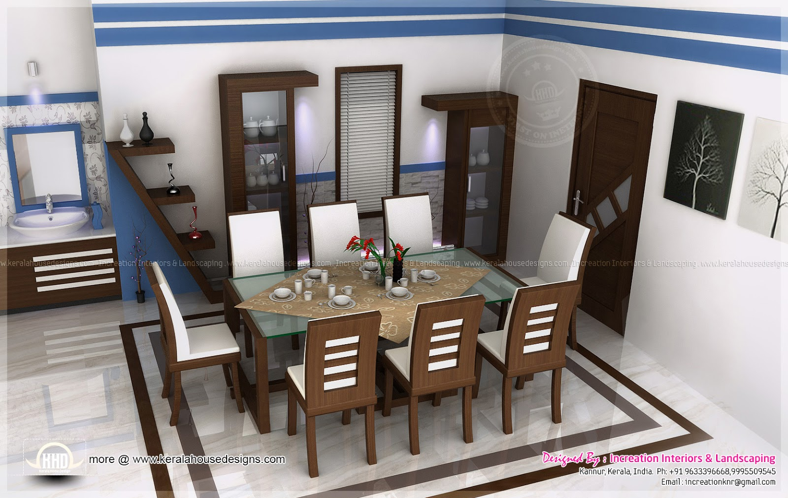 House interior ideas in 3d rendering kerala home design for Simple dining hall design