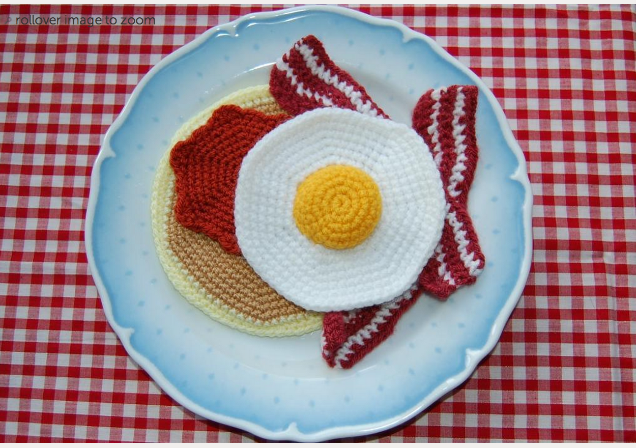 Bacon Eggs Pancakes - Big Crochet Bacon Breakfast