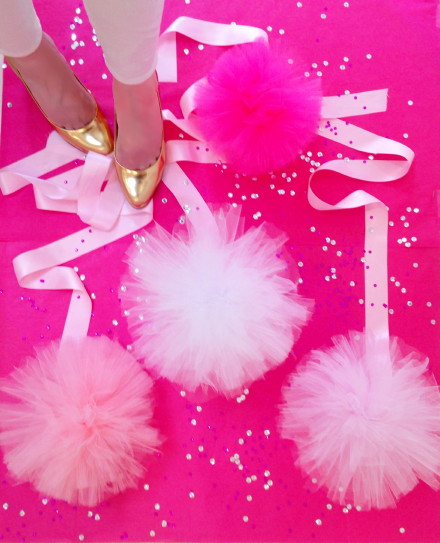 pink tulle, pink pom poms, ribbon, silk, tulle, sparkles, valentines day