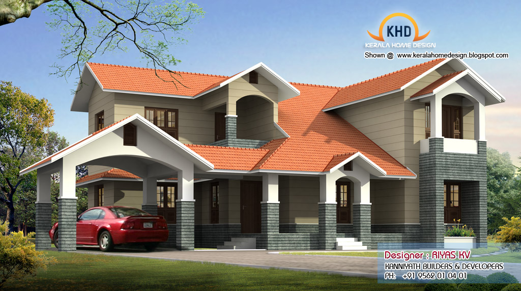 European style Kerala Home 3476 Square Feet - Kerala home design ...