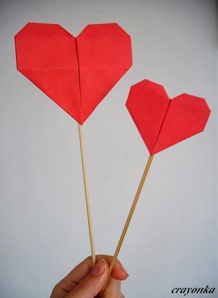 Serduszka origami na patykach