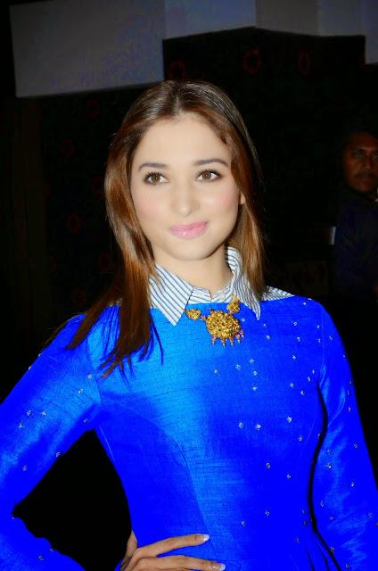 Tamannaah Bhatia Looks Gorgeous In a Blue Dress At Telugu Film 'Dongata' Audio Launch Event