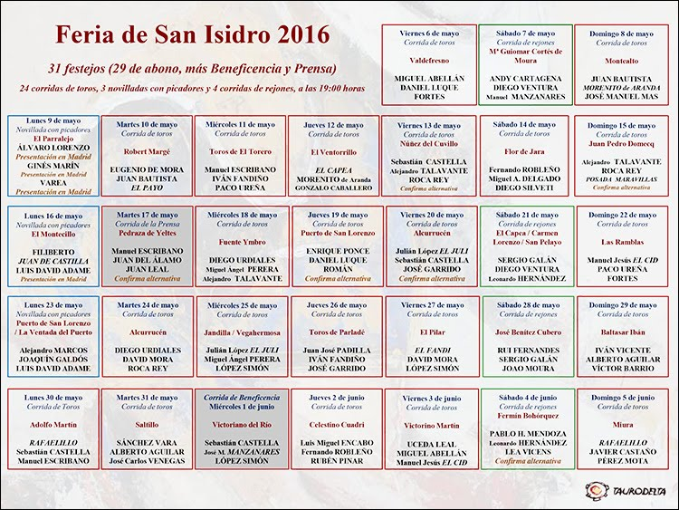 CARTELES SAN ISIDRO 2016