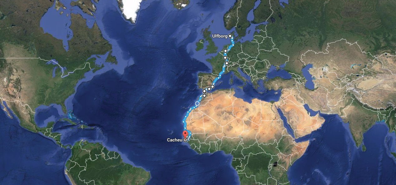 Our Route - Denmark to Guinea Bissau